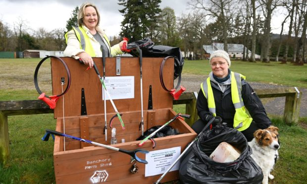 Linda MacPhee and Claire Macdonald with the first Community CleanUP box.
