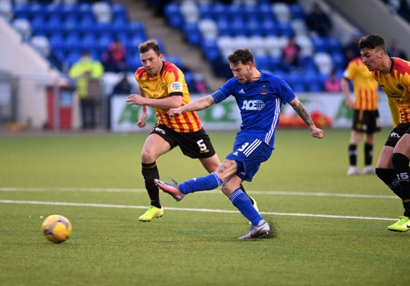 Cove Rangers' Mitch Megginson in action against Partick Thistle.