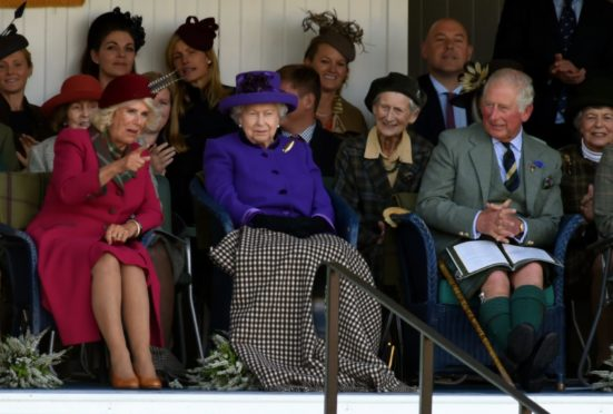 The Duchess of Rothesay, the Queen and the Duke of Rothesay at the Braemar Gathering in 2019. Picture by Kenny Elrick
