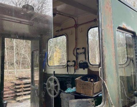 Picture shows; Broken train carriage window. Aberdeenshire.