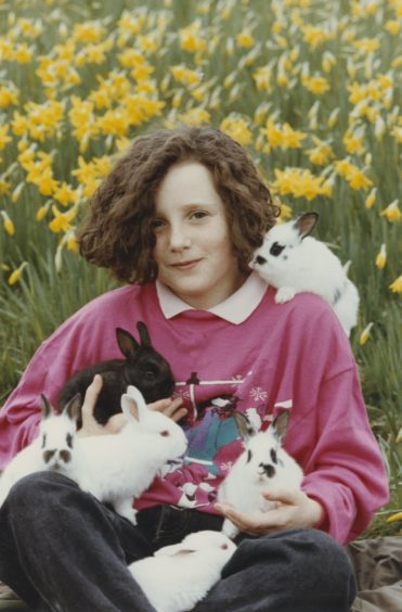 1991 - Kenna Blackhall Easter Bunnies: Kenna Blackhall (10) with bunnies needing a home.