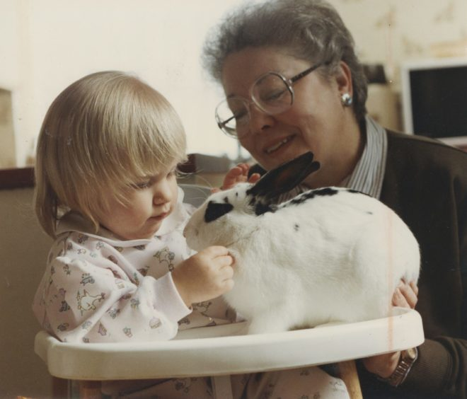 """1992 - Hannah Goldie (Toddler pictured) """"Aberdeen toddler Hannah Goldie can be sure of a happy Easter complete with her very own bouncing Easter bunny. For she has been reunited with her runaway rabbit - which bunny hopped to freedom last weekend over a three foot high garden gate. Bunny the rabbit was spotted dodging the traffic on busy Beechgrove Terrace and rescued by neighbour Sheila MacLeod. After a few days holed up in Sheila's basement Bunny was safely back with 19 month old Hannah in time for Easter."""""""