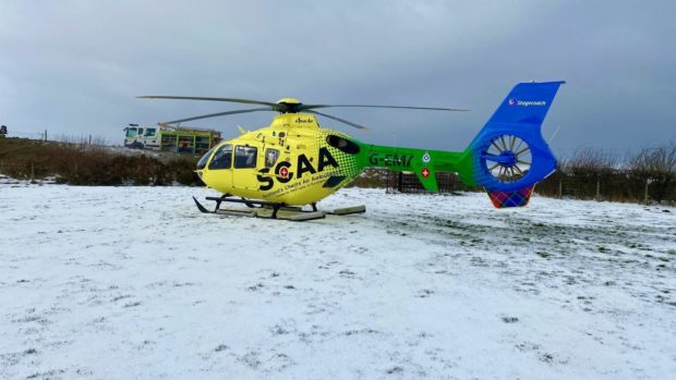 Scotland's Charity Air Ambulance at the scene of the crash between Huntly and Inerurie.