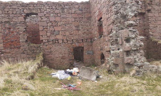 The rubbish left at Slains Castle near Peterhead.