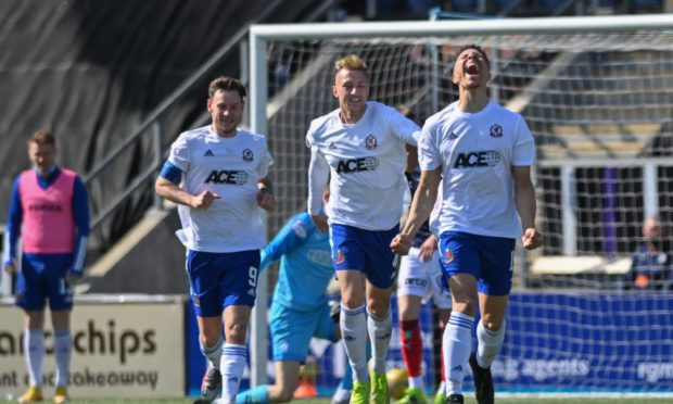 Leighton McIntosh celebrates his goal for Cove Rangers against Falkirk.