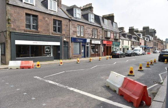 Aberdeenshire Council has implemented new social distancing measures in its busy town areas