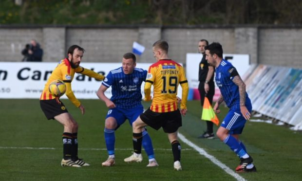 From left to right Stuart Bannigan, Scott Brown, Scott Tiffoney and Ryan Conroy battle for possession