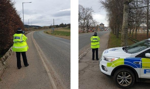 Officer undertaking an operation targeting speeding in Huntly and Rhynie.