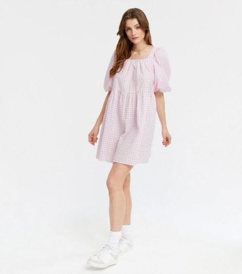 Pink Gingham Square Neck Mini Smock Dress – New Look, £25.99