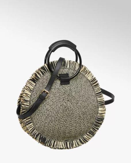 Black and Beige Straw Tote Bag – Deichmann, £24.99