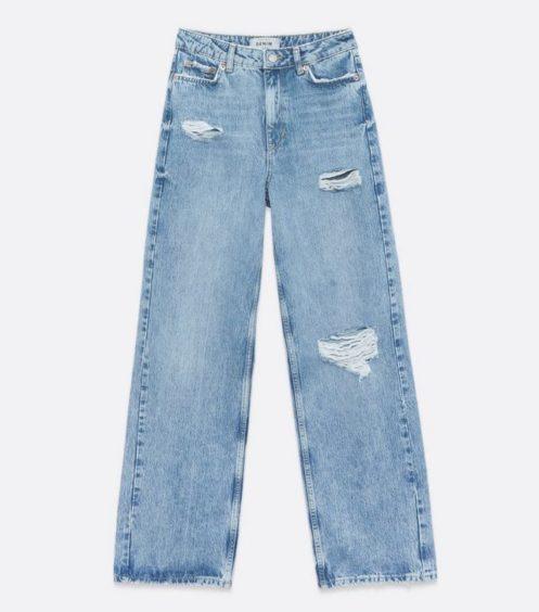 Blue Ripped 90s High Waist Adalae Jeans – New Look, £29.99