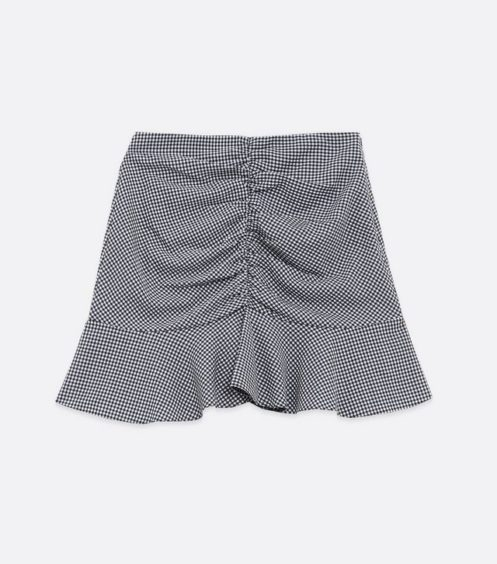 Blue Gingham Ruched Frill Mini Skirt – New Look, £19.99