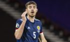 Declan Gallagher in action for Scotland during a Euro 2020 Play off match against  Isreal