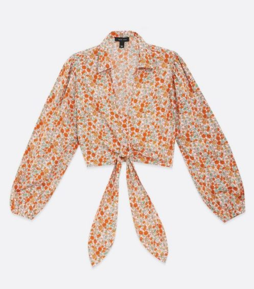 Pink Ditsy Floral Tie Front Shirt – New Look, £17.99