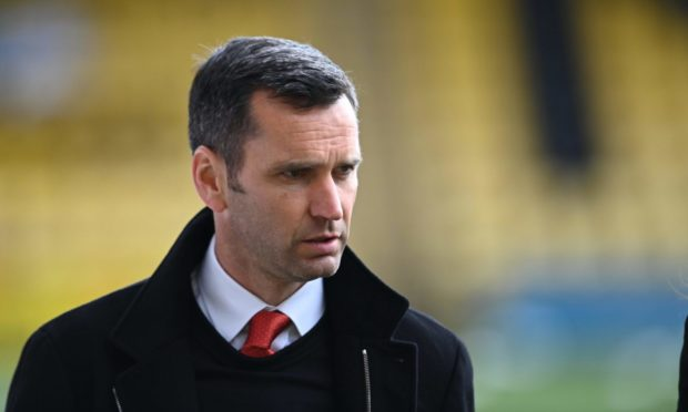 Dons boss Stephen Glass at the 2-1 defeat of Livingston.