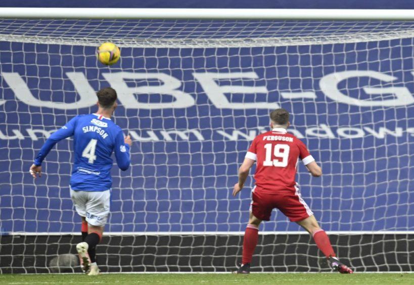 Aberdeen's Lewis Ferguson misses a glorious chance.