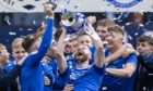 St Johnstone players celebrate their Scottish Cup success.
