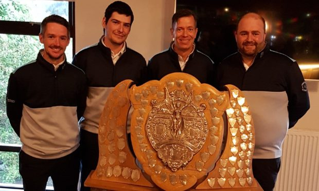 Bryan Innes, second right, with Murcar Links  team-mates Anthony Bews, Corin Stewart and  Terry Mathieson after lifting the Maitland Shield.