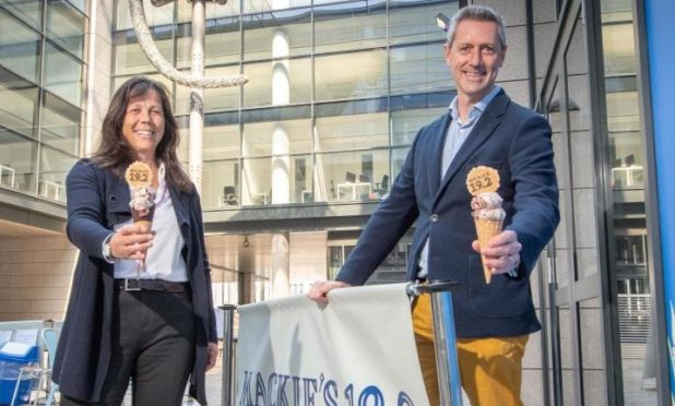 Mackie's of Scotland Marketing Director Karin Hayhow and VisitAberdeenshire CEO Chris Foy with the new ice cream flavour 'Majestic Aberdeenshire'