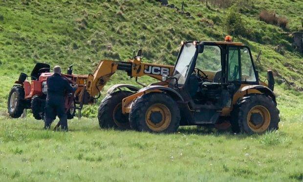 The ride-on mower had to be removed this morning following last nights incident  Picture by Michal Wachucik/Abermedia