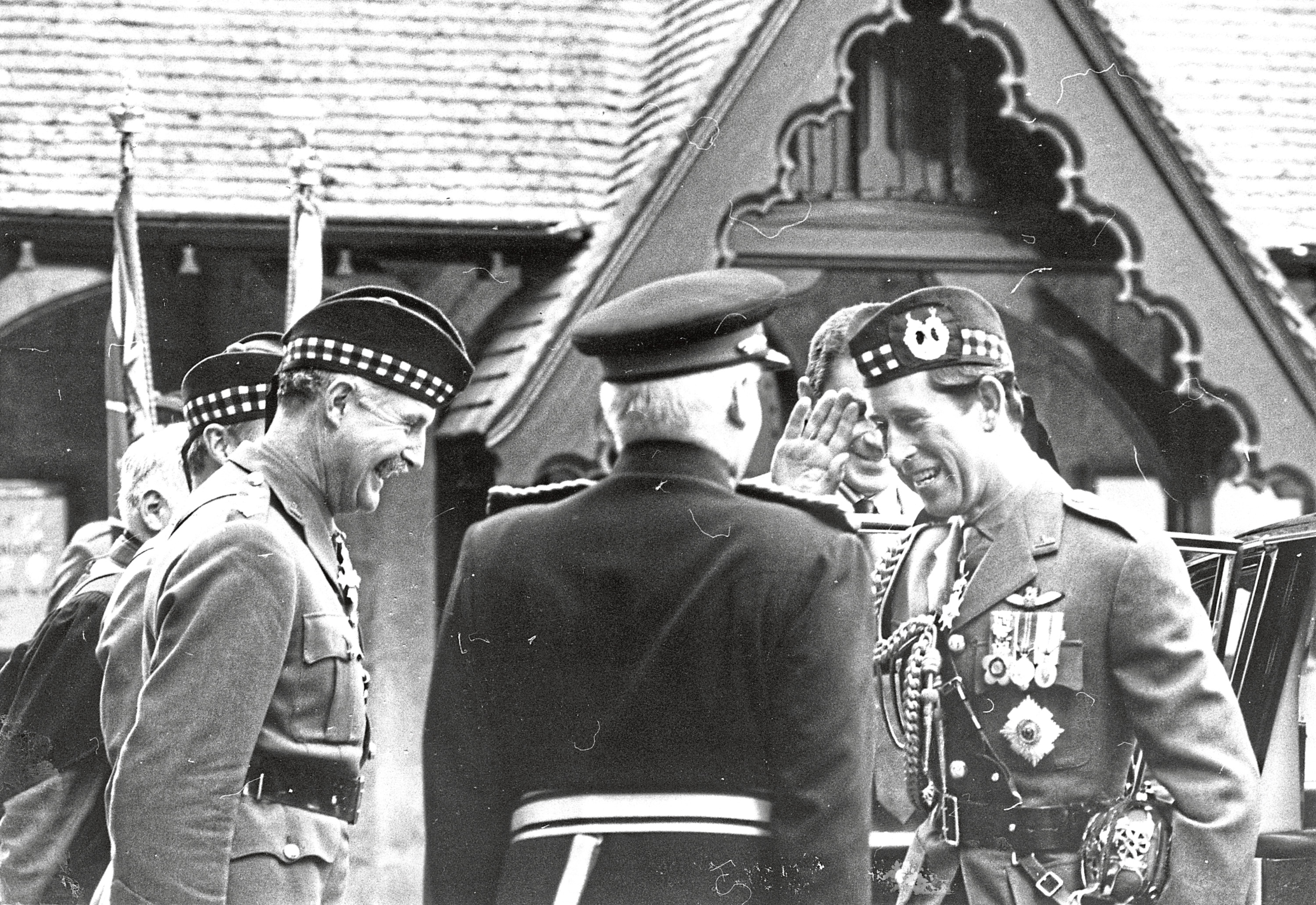 1988: Welcoming the Prince of Wales to Crathie Church are Maj.-Gen. Peter Graham (left), colonel of the 1st Bn. Gordon Highlanders, and Capt. Colin Farquharson (centre), Lord Lieutenant of Aberdeenshire.