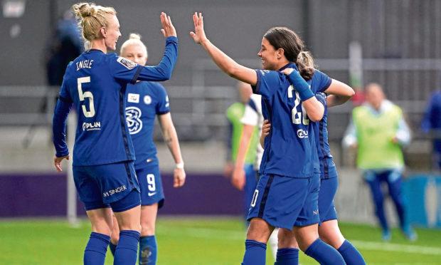 Chelsea's Samantha Kerr celebrates scoring their side's second goal against Tottenham.