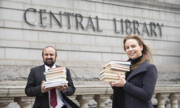 Councillors Malik and Imrie at the Central Library. Supplied by Aberdeen City Council.