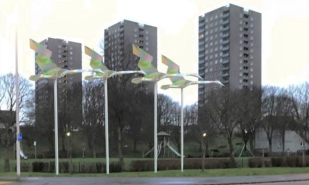 The swans designed by David Annand which have been chosen as the winner