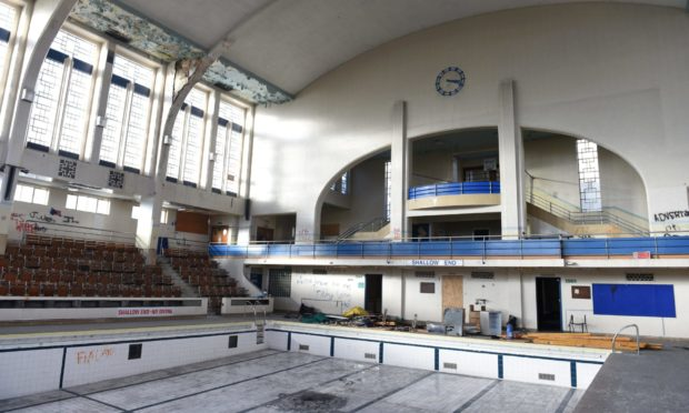 The interior of Bon Accord Baths, which was closed in 2008. Picture by Paul Glendell