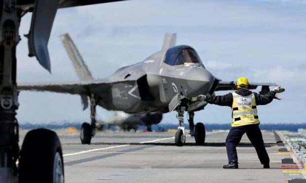 F-35 Lightning Jets return to HMS Queen Elizabeth off coast of north-west Scotland. Photo from Defence Imagery.