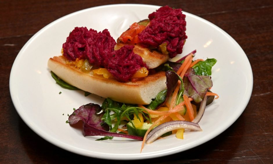 Roast pepper and beetroot hummus bruschetta is just one of the dishes you can enjoy on Kirk View Café & Bistro's tapas themed menu.
