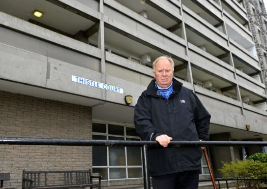 Bill Cormie outside Thistle Court. Picture by Kath Flannery