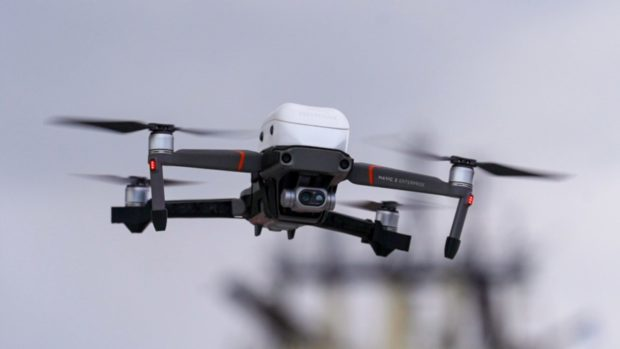 The man was seen operating the drone from a street in Lossiemouth. Picture by Kenny Smith