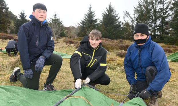 A group from the Aberdeen Open Awards Centre pitch a tent at Tyrebagger.
