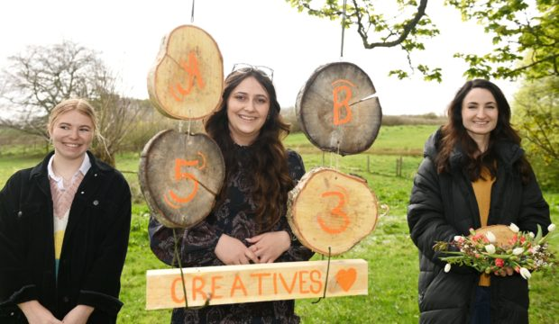 Art exhibit in the grounds of Delgatie Castle in Turriff celebrating the work of rural creatives from around Aberdeenshire  Pictured are artists: Alanah Purves,  Organiser Megan Thores and Ellie Patterson     Picture by Paul Glendell     15/05/2021