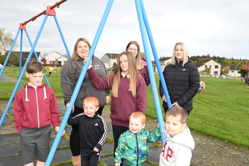 Pictured are back row parent and EPIC committee: Shannon Button, Sheila Hutchison and Lynsey Penny with children, Joe Penny, James Button, Neve Anderson, Fraser Button and Ross Third