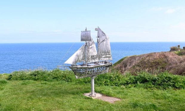 """The new Isabella boat sculpture in Newtonhill. The sculpture was made by the Stonehaven """"Banksy""""."""
