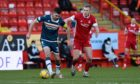 Declan Gallagher, left, in action for Motherwell against Aberdeen at Pittodrie.