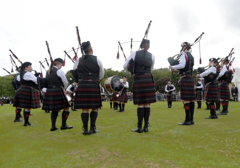 Aberdeen Highland Games at Hazlehead Park. Portlethen Pipe Band in 2019. Picture by Kath Flannery
