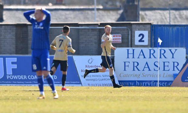 Scott Shepherd, right, celebrates scoring the second Forfar goal against Peterhead.