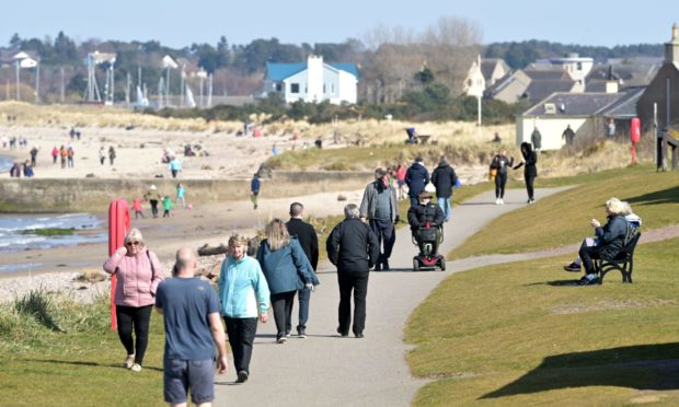 Warm weather in April led to a surge of visitors to Nairn beach.