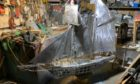 Metal model of the schooner Isabella under construction at the workshop of the 'Stonehaven Banksy' - Jim Malcolm.