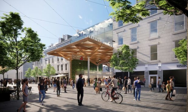 Concept image of the proposed new market in Aberdeen, on the site of BHS and the current market building