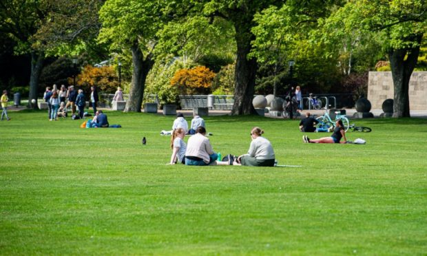 Locals headed out into the sunshine in Aberdeen on Sunday