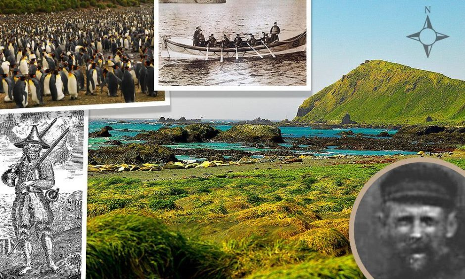 Left to right, an 18th century engraving of Robinson Crusoe, penguins on MacQuarrie Island, Alexander MacKay, standing, coxswain of the Wick lifeboat, MacQuarie Island, and bottom right, Alexander MacKay, master pilot in Wick