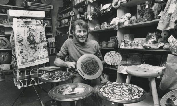 Patrick Forsyth in his craft shop in 1981. Fraserburgh.