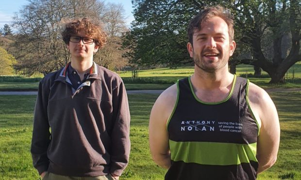 George Buchan (right) is preparing to run a marathon for Anthony Nolan, which found his brother William a life-saving stem cell donor.
