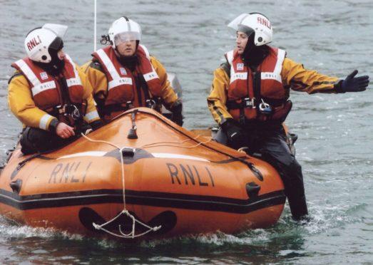 Jim Wilson with the RNLI crew