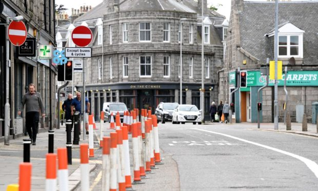 Rosemount Place has been made one-way as part of the £1.76 million Spaces For People project in Aberdeen