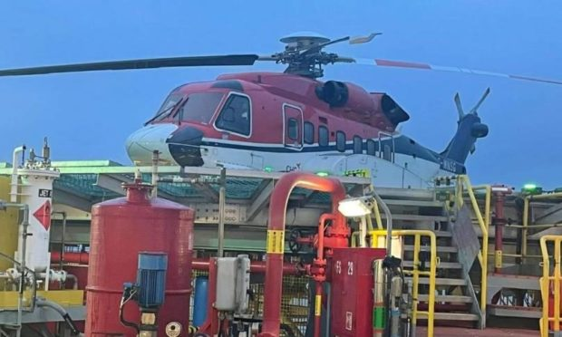 An S-92 helicopter stuck on the Valaris 122 oil rig.  Supplied by The Rig Worker's Rant Facebook page
